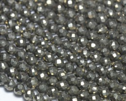 "SALE  4.5 - 5mm 13.5"" PYRITE round faceted beads PYr006"