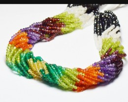"""3mm MULTI GEM mixed faceted beads 13.5"""" MIXB13"""