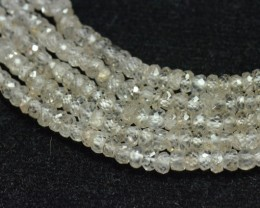 "3.5mm 6.75"" White Zircon faceted beads AA Grade ZIR005"