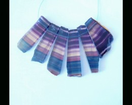 Nugget Rainbow Fluorite Pendant Beads Set,58x17x6mm,79.93g