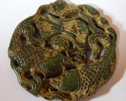 "FROM A COLLECTION JADE AMULET ""FISHES AND LOTUS""  67mm"