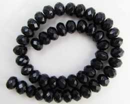 390 Cts Faceted  10 MM Black Onyx Bead strand GG 1873