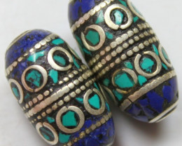 94 CTS  2  PIECES TIBETAN/NAPAL UNIQUE BEAD HAND MADE WORK P622