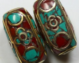 103CTS  2  PIECES TIBETAN - NePAL UNIQUE BEAD HAND MADE WORK P625