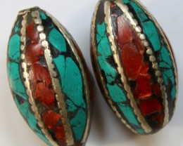 97 CTS 2 PCS ANCIENT TIBETAN NAPAL UNIQUE BEAD HAND MADE P638