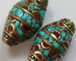 63.00 CTS 2 PCS ANCIENT TIBETAN NAPAL UNIQUE BEAD HAND MADE P639