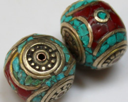 64 CTS 2 PCS ANCIENT TIBETAN NAPAL UNIQUE BEAD HAND MADE P640