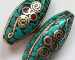 110 CTS 2 PCS ANCIENT TIBETAN NAPAL UNIQUE BEAD HAND MADE P642