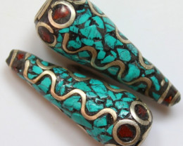 81 CTS 2 PCS ANCIENT TIBETAN NAPAL UNIQUE BEAD HAND MADE P643