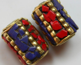 44 CTS 2 PCS ANCIENT TIBETAN NAPAL UNIQUE BEAD HAND MADE P650