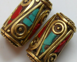 49 CTS 2 PCS ANCIENT TIBETAN NAPAL UNIQUE BEAD HAND MADE P667