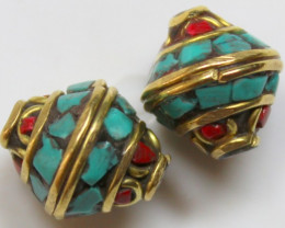 24.00 CTS 2 PCS ANCIENT TIBETAN NAPAL UNIQUE BEAD HAND MADE P660