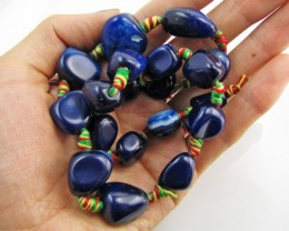 330  Cts Blue col    Agate  Strand Beads   GG 196