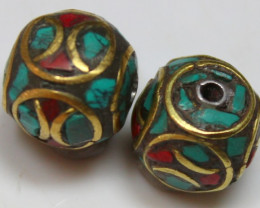 26.75 CTS 2 PCS ANCIENT TIBETAN NAPAL UNIQUE BEAD HAND MADE P663