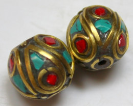 25.00 CTS 2 PCS ANCIENT TIBETAN NAPAL UNIQUE BEAD HAND MADE P664