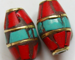 13.00 CTS 2 PCS ANCIENT TIBETAN NAPAL UNIQUE BEAD HAND MADE P666