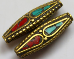 23.70 CTS 2 PCS ANCIENT TIBETAN NAPAL UNIQUE BEAD HAND MADE P668