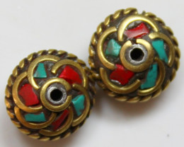 18.80 CTS 2 PCS ANCIENT TIBETAN NAPAL UNIQUE BEAD HAND MADE P669