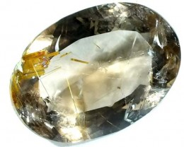RUTILE QUARTZ FACETED BRAZIL 13.2  CTS  BG-156