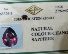 CERTIFIED Beautiful Color Change Sapphire - .367cts, Untreated