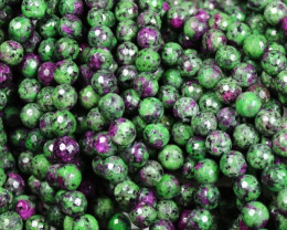 1 STRAND RUBY & ZOISITE FACTED BEADS 8 MM - 15 INCHES P677