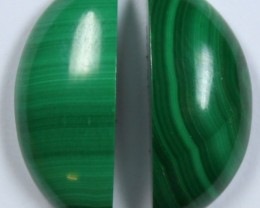 18 CTS MALACHITE PAIR OF STONE TOP GLOSSY POLISH ON STONES