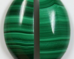 20 CTS MALACHITE PAIR OF STONE TOP GLOSSY POLISH ON STONES