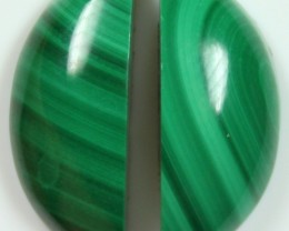 19 CTS MALACHITE PAIR OF STONE TOP GLOSSY POLISH ON STONES