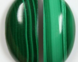 18.5 CTS MALACHITE PAIR OF STONE TOP GLOSSY POLISH ON STONES