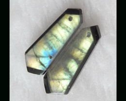Dazzling Gold Labradorite,Obsidian Intarsia Earring Beads