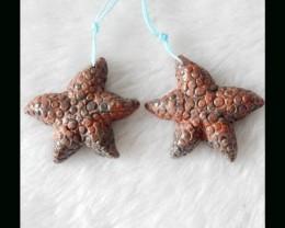 Gem Stone Starfish Carving Leopard Jasper Earring Bead Pair
