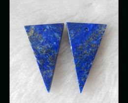39.2cts Natural lapis lazuli gemstone triangle earring pairs wholesale