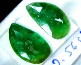 FACETED PAIR EMERALD 2.56   CTS ADG-93