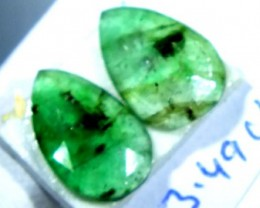 FACETED PAIR EMERALD  3.49  CTS ADG-106