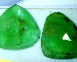 FACETED PAIR EMERALD  3.7  CTS ADG-120