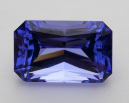8.4ct Certified Blue Rectangle Tanzanite (PG-30-23-RG)