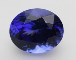 6.7ct Certified Standard Blue Oval Tanzanite (PG-92-30-MN)