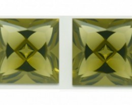 Pair Square 10mm Olive Green Quartz Precision Gems 8.52cts