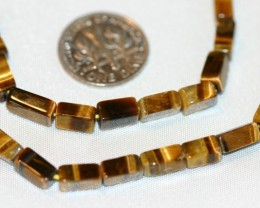 2 STRANDS TIGER EYE BEADS - 121 CARATS