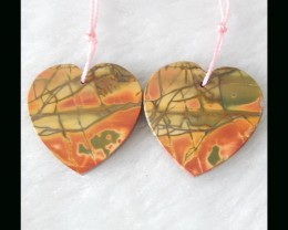 Bi Color Jasper Heart shape Earring Beads,25x19x3mm,6.19g