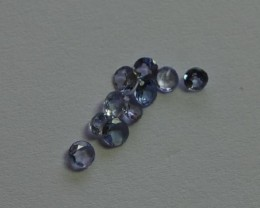 SET OF 10 FACETED ROUND TANZANITE CALIBRATED GEMS