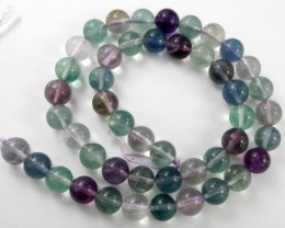 EXCELLENT QUALITY - NATURAL 8MM ROUND MIXED COLOR FLUORITE BEADS-GORGEOUS!!