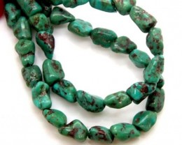 GREEN TURQUOISE  BEAD 55  CTS NP- 391    FREE SILVER PENDANT