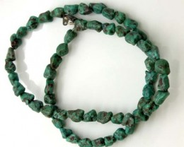 GREEN TURQUOISE  BEAD 80  CTS NP-393     FREE SILVER PENDANT