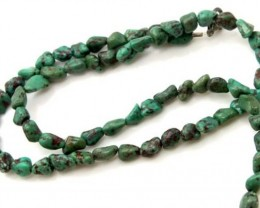 GREEN TURQUOISE  BEAD 70 CTS NP- 396    FREE SILVER PENDANT