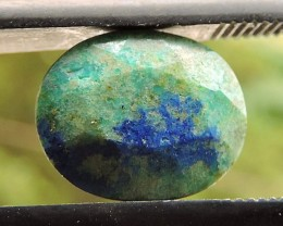 1.75ct AZURITE CHRYSOCOLLA OVAL FACETED SPECIMEN GEMSTONE FROM MADAGASCAR
