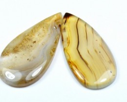 Pair 44mm drop shape botswana agate AAA cabochon - Awesome