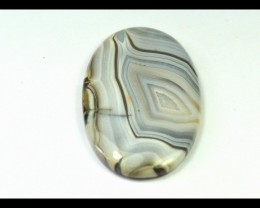 SALE 65mm botswana agate oval cabochon black grey white