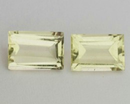 1.45ct RECTANGULAR FACETED YELLOWISH GREEN BERYL GEMS BRAZIL 2 PIECES