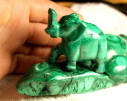 Malachite Display Piece / Elephant and Background